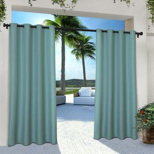 Denton Outdoor Solid Grommet Curtain Panels 108""